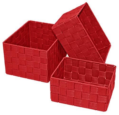 Lashuma 3er Pack Bad Körbchen, Korb Größen: 24 x 18 x 14 cm, 21 x 16 x 12 cm und 19 x 14 x 10 cm, Regalboxen Farbe: Rot