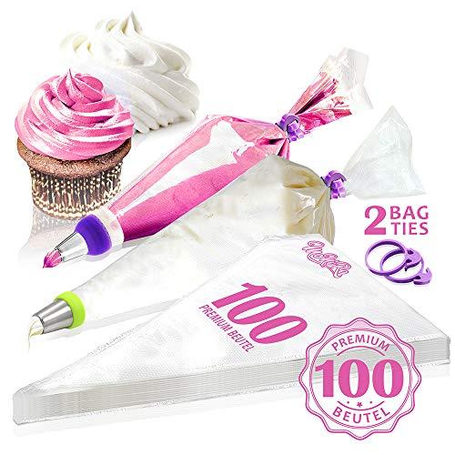 MoNiRo 100 Große Spritzbeutel - Profi Spritztüten Set für Spritztüllen zum verzieren & Backen von Fondant Torten & Cupcakes - Mehrweg Spritzsack - Garnierbeutel - Einwegspritzbeutel für Tüllen