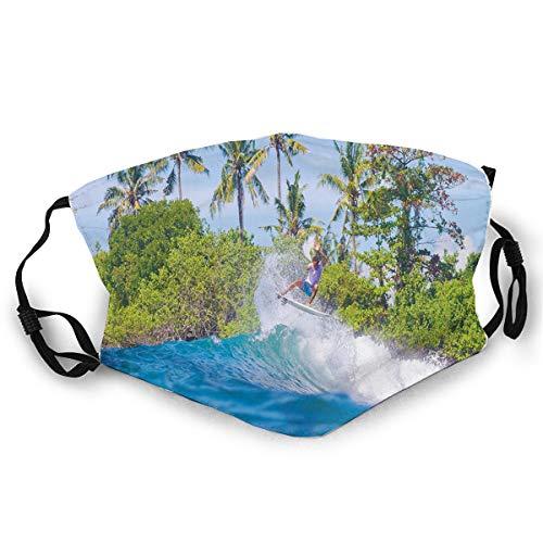 WiederverwendbareSicherheitsabdeckungenSurfer in Ocean by Bali Island Palm Trees Dreamy Nature Scenery,AllerLänderinPolyesterabdeckungen