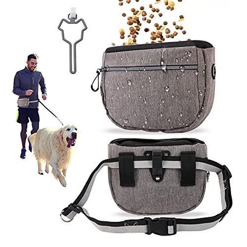Dihope Futtertasche für Hundetraining Ausbildung Leckerli-Tasche mit gratis großes Fassungsvermögen Premium Hundefutter Taschen Verstellbarer Taillen(Grau Set)