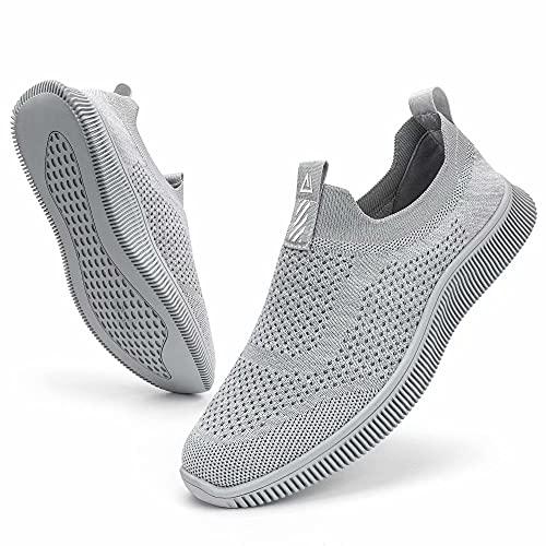MrToNo Slip On Sneaker Herren Turnschuhe Atmungsaktiv Sportschuhe Leichte Laufschuhe rutschfest Joggingschuhe Straßenlaufschuhe Bequem Outdoor Walkingschuhe-HUIQIAN-43