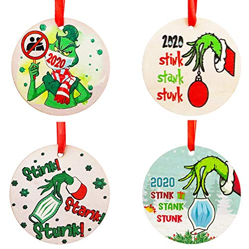 BeadChica Grinch Hand Christmas Ornaments,2020 Stink Stank Stunk Grinch Wooden Ornament,Grinch Christmas Hanging Ornaments
