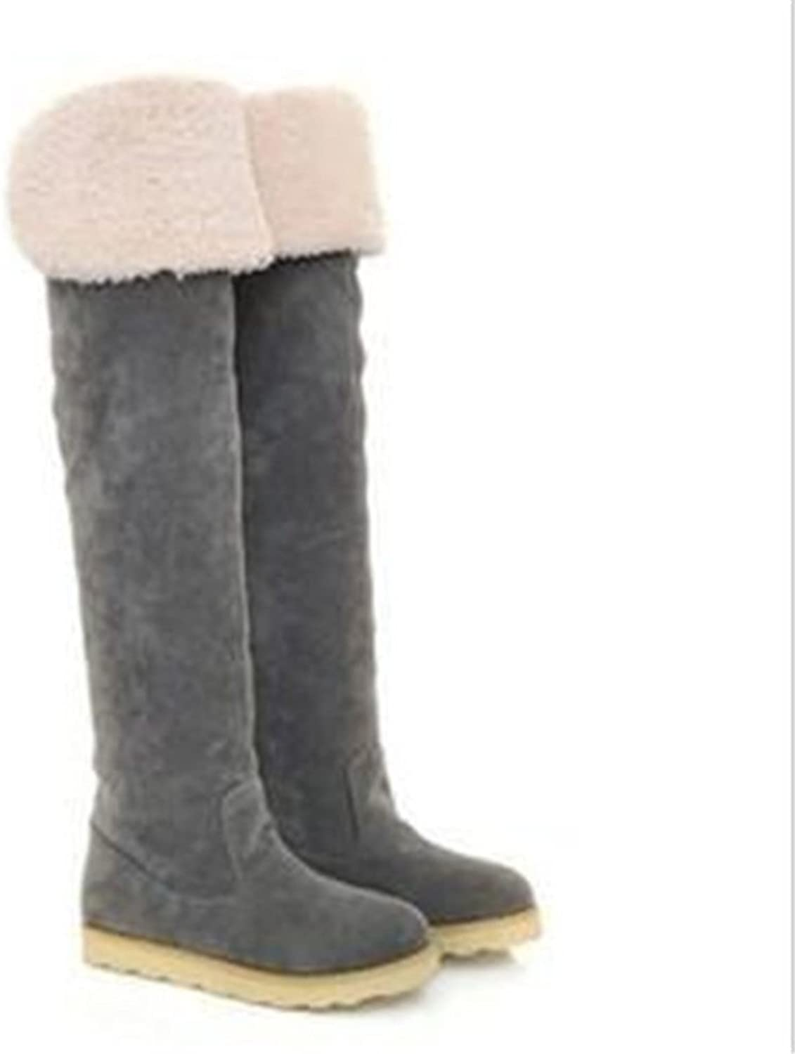Autumn and winter boots with flat over the knee boots Boots Add down students ' winter boots Korean-style womens shoes
