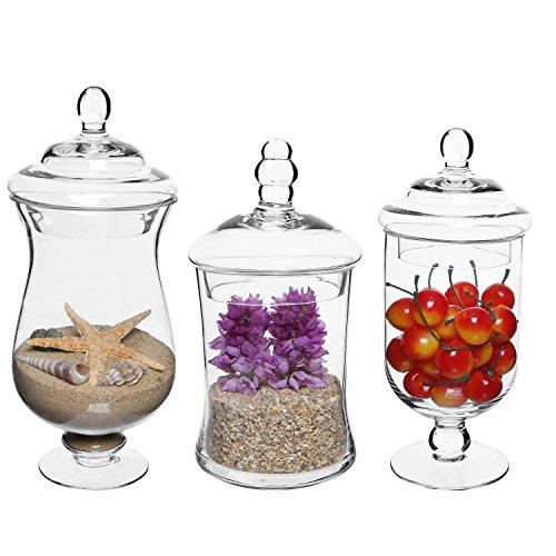 MyGift Juego de 3tarros de almacenamiento y pantalla de cristal transparente/tarros de boticario para buffet de boda y centro de mesa