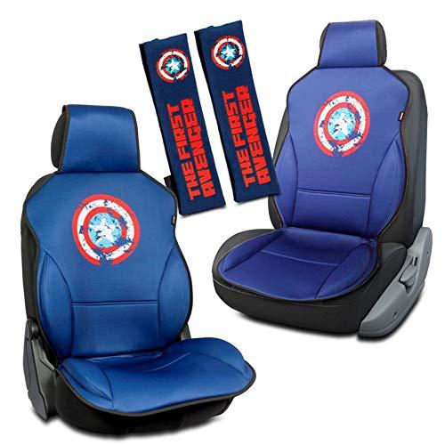 Capitán América Set de 2 Respaldos Asiento + 2 Almohadillas Cinturon Universal Azul Marvel Avengers