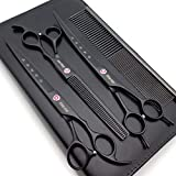 Kingstar 8.0in. Matt Black Professional Pet Grooming Scissors Set,Straight & Thinning & Curved Scissors Set with Comb,Dog Grooming,A559