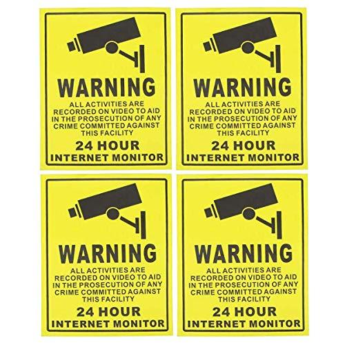 Pegatina de videovigilancia y señales de advertencia de seguridad para el hogar, negocios, sistema de alarma de cámara, adhesivo 24 horas, 4 unidades