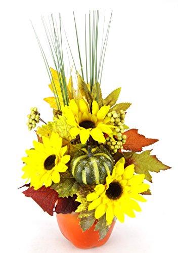 Flair Flower Gesteck aus Sonnenblumen mit Kürbis im Apfel-Topf Kunstblumen Arrangement Künstlich Deko Tischdeko Herbstdeko Sommergesteck Blumen Strauß Fensterbank