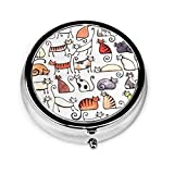 Cartoon Cute Short Pussy Cat Round Pill Box Organizer, Medicine Vitamin Holder with 3 Compartment, Portable Pill Case for Pocket Purse Travel Gift