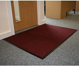 JVL Office Entrance Absorbent Barrier Door Mat, Plastic, Red/Black, 90 x 120 cm