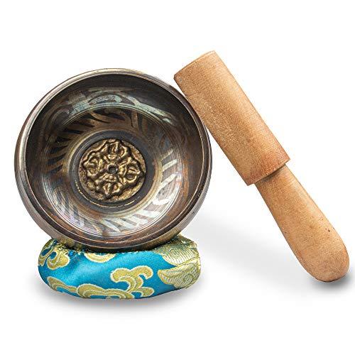 Myga Tibetano Cojín de Tazones Con seda y madera Mallet budista Tazón