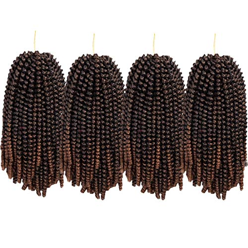 4 Pack Spring Twist Crochet Braids Bomb Twist Crochet Hair Ombre Colors Low Temperature Fiber 8inch 110g Synthetic Hair Extension (8INCH, 1B/30#)
