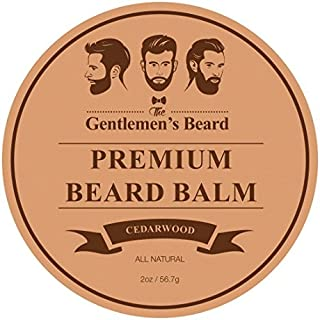 The Gentlemen's Premium Cedarwood Beard Balm - Leave-in Conditioner & Softener - All Natural - Styles, Strengthens, Thickens & Softens Promoting Healthier Beard & Mustache Growth