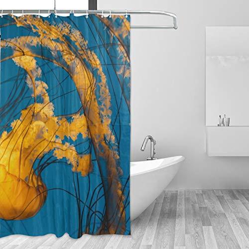 FAJRO Duschvorhang mit Quallen, Polyester, maschinenwaschbar, für Badezimmer, antibakteriell, 152,4 x 182,9 cm, Gelb