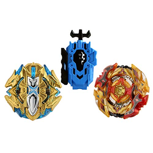 Baoblaze 2pcs Juguete de Peonza de Batalla con Lanzador Doble Dirección Lucha Maestro Fusión Metal B-120 , B-128 01