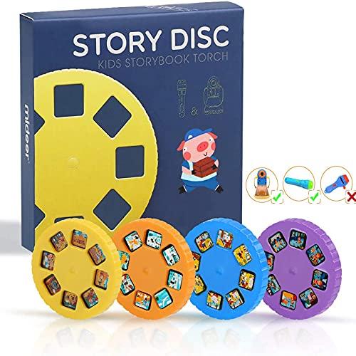 Story Disc 4 Fairy Tales Movies 32 Diapositivas para Story Projection Torch Story Film Replacement para niños Sleep Story Projector Bedtime Story Toy Gran juguete educativo regalo para niños y niñas