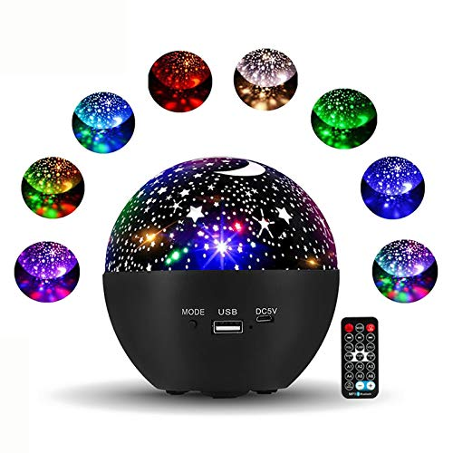 Star Projector, 360°RotatingRemote/Bluetooth Control Starlight Projector Timer Design Baby Projector, CANMEIJIA Multi-Color Star Light Projector for Bedroom/Kids/Birthday/Parties/Christmas(Black)