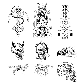 8 Original Design Temporary Tattoos by Inktells-Updated 2020-Animal Skull,Skull,Mantis tattoo for Men and Boys  fake tattoos for neck,back,hand and forearm  2 sheets