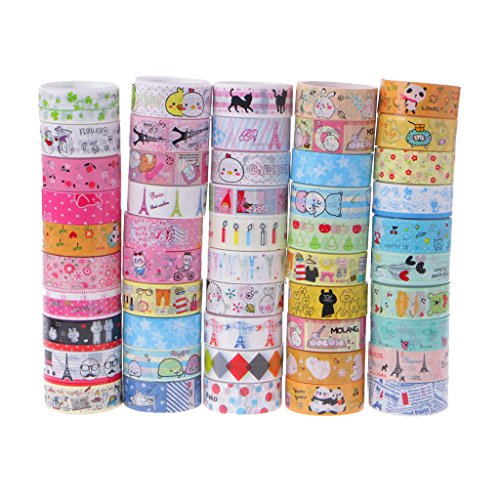Sweo Washi-Tape, 10 Kawaii 4M Tapes Mix Designs Cartoon Klebeband Set für Scrapbooking / Handwerk