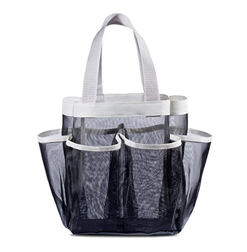 7 Pocket Shower Caddy Tote Black  Keep your shower essentials within easy reach Shower caddies are perfect for college dorms gym shower swimming and travel Mesh allows water to drain easily