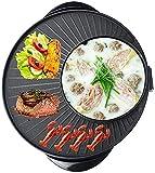 WYZQ Hot Pot Hot Pot/Pan Barbacoa eléctrica/Olla Caliente China + Barbacoa Coreana Dos en uno, Cocina eléctrica multifunción de Control de Temperatura Constante de Cinco velocidades de Piedra Maif