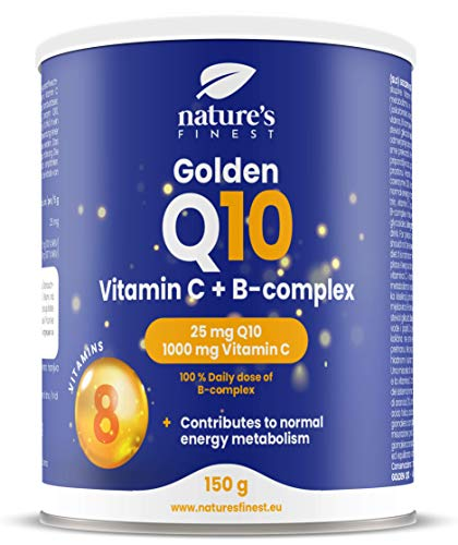 Nature's Finest Golden Q10 | 25mg of Q10 per Serving | 1000mg of Vitamin C per Serving and 100% Daily Dose of B-Complex