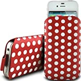 RED POLKA DOT PREMIUM PU LEATHER PULL FLIP TAB CASE COVER