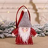 XUSHIHAN Weihnachtlicher Zierschmuck Dekorationen Vlies Handtasche Alter Mann Filztuch Geschenktüten Ornament Requisiten Bonbontüte Weihnachtsmann Sackhalter Rot 24x15cm