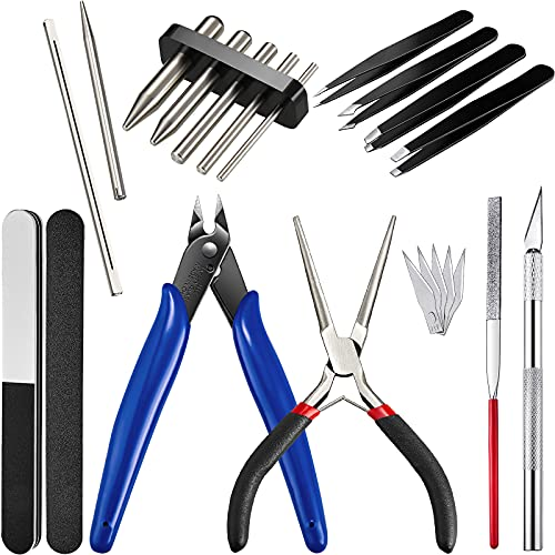 17 Pieces Metal Puzzle Tool Set Tool DIY Metal Model Kits Tools Tab Edge Cylinder Cone Shape Bending Assist Tools for 3D Metal Jigsaw Puzzles Assembly Basic Model Building, Repairing and Fixing