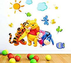 Golden Cart Cartoon Animals Under The Sun and Clouds Wall Sticker for Kids Bedroom and Play Room