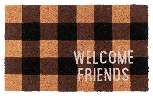 New KAF Home Coir Doormat with Heavy-Duty, Weather Resistant, Non-Slip PVC Backing | 17 by 30 Inches, 0.6 Inch Pile Height | Perfect for Indoor and Outdoor Use (Welcome Friends)