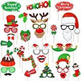 Christmas Photo Booth Props, 32 Pack DIY Xmas Photography Decorations - Funny Selfie and Photo Prop Pack for Christmas&New Year Party Supplies for Kids and Adults
