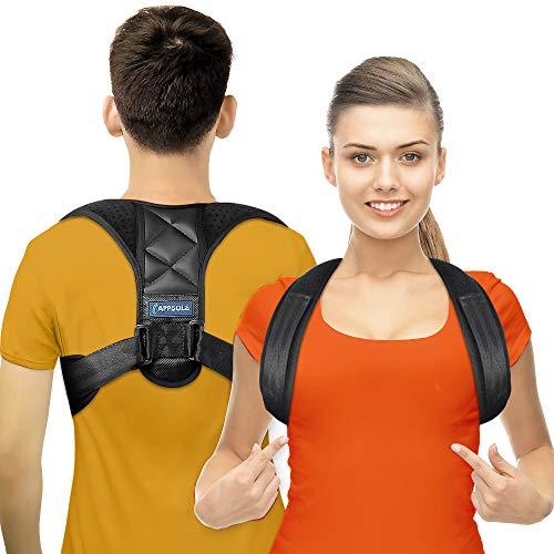 Haltungskorrektor für Männer und Frauen - wirksam bei Nacken-, Rücken- und Schulterschmerzen - Lendenwirbelstütze- Oberer Rückenstrecker mit verstellbarer, atmungsaktiver Schlüsselbeinstütze