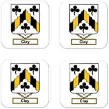 Clay Family Crest Square Coasters Coat of Arms Coasters - Set of 4