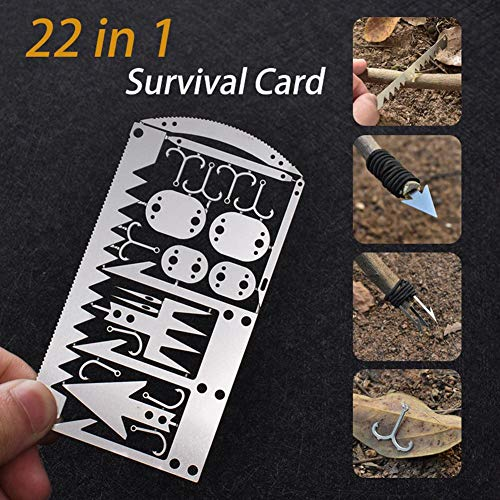 Multi Tool Card, Camping Card, 22 in 1 Wilderness Survival Card Emergency Kit for Fishing Camping Randonnée Chasse