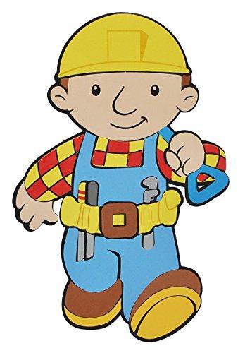 alles-meine.de GmbH 3-D Wandtattoo / Wandbild / Türschild - XL Bob der Baumeister aus Moosgummi - Baustelle Wandsticker Wanddeko für Kinderzimmer Kind Kinder Deko Bilder