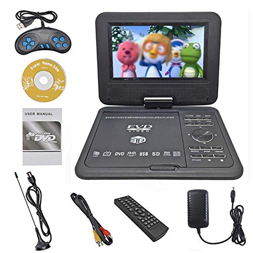 MAYWU 7 Inch Portable DVD Player with Built-in Rechargeable Battery, Support for Full HD Video, 270 Degree Swivel Screen, USB/SD Playback Best Gift for Kids