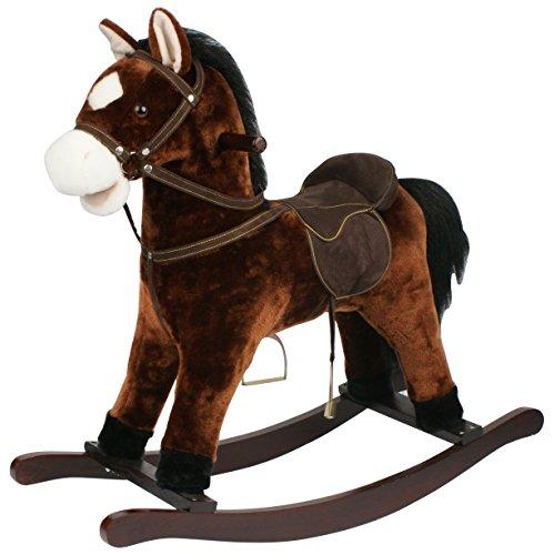 Sweety Toys 5260 Chiko Cheval à bascule en peluche sonore avec bruits de galop et de hennissement Marron