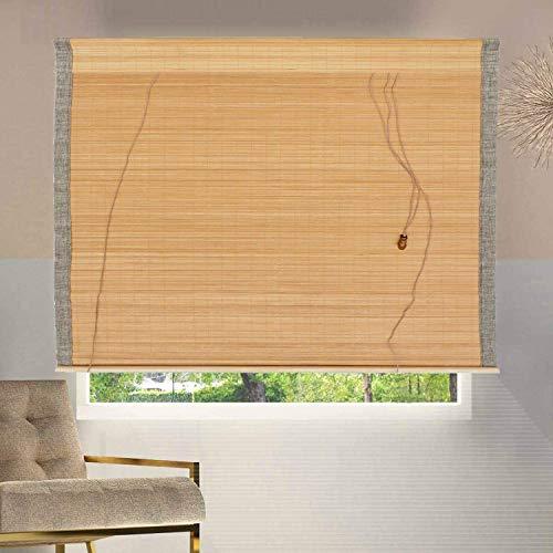 ybaymy Bambusrolllo Sonnenschutz Innen/Draussen Bambus Raffrollo Sichtschutz Holzrollo Jalousie Seitenzug Fenster Tür Rollos für Korridor Gazebo Fenstertüren 180 x 90 cm Braun