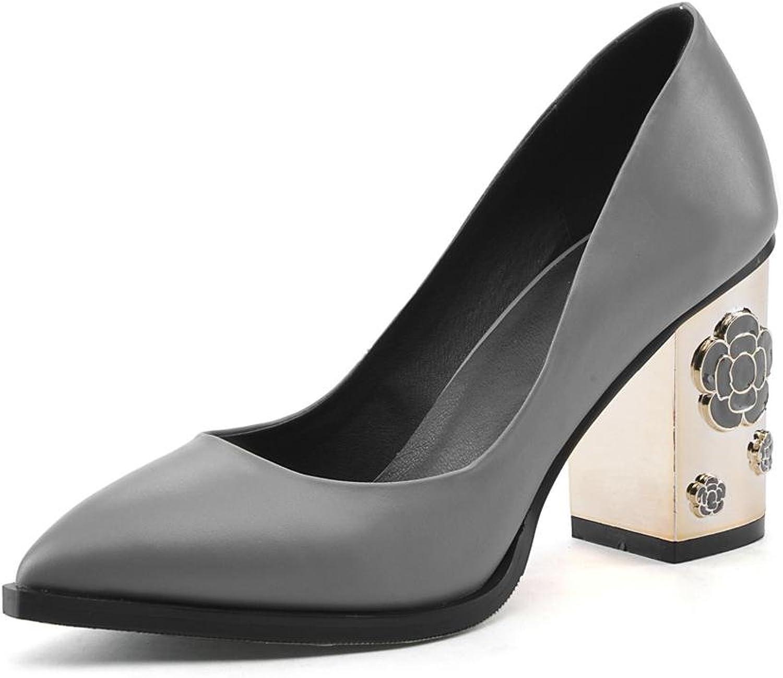 NVXIE Damen Schlüpfen Leder Single Gericht Schuhe Metall Metall Metall Block Hoch Hacke Spitz Zehe Schwarz Grau Pumps Arbeit Geschäft Werdegang  b22534