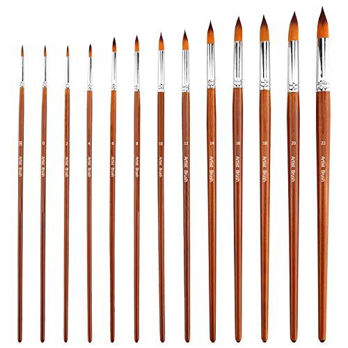 AIEX 13-teilige Künstlerpinsel, Runder, Spitzer Aquarellpinsel Pinselset Malen für Aquarell-, Acryl-, Tinten-, Gouache-, Öl- und Temperamalerei