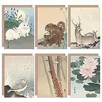 Ohara Koson Japanese Lily Ivy Seagull Deer Monkey Butterfly Rabbits Fine Art Greeting Card Pack of 6 日本語鹿モンキーバタフライ