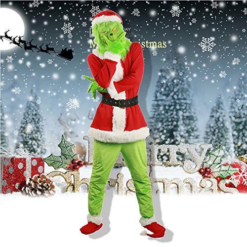 W-life Grinch Costume Halloween Natale Santa Adult Fancy Dress Abiti Cosplay con Maschera, 7pcs   Set (Size : Medium)