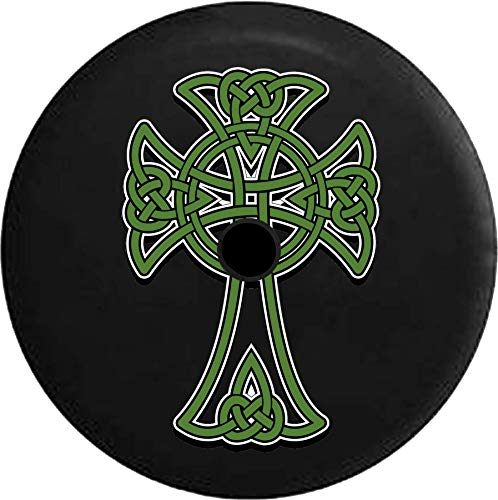 JL Spare Tire Cover Celtic Cross Eternal Knot Green Gold Irish Scottish with Backup Camera Hole Black 32 in