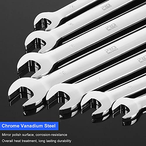 PROSTORMER 14-Piece Flex-Head Ratcheting Wrench Set, 6-19mm Chrome Vanadium Steel Ratchet Wrenches, Metric Combination Ended Spanner Kit with Storage Case