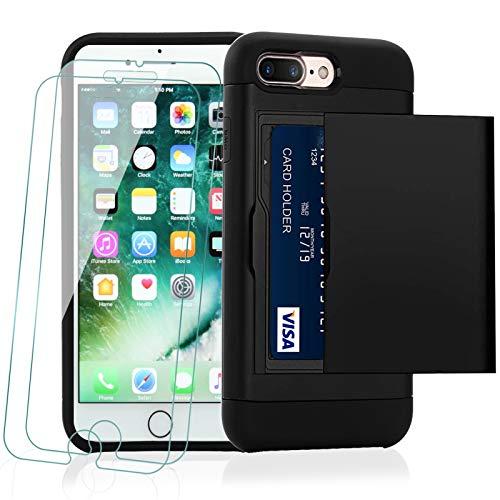 KEEPXYZ Funda para iPhone 7 Plus / 8 Plus + 2 Pcs Protector de Pantalla Cristal Templado, PC y TPU Doble Capa de diseño y Titular Ranura Tarjeta Carcasa + Vidrio Templado para iPhone 7 Plus / 8 Plus