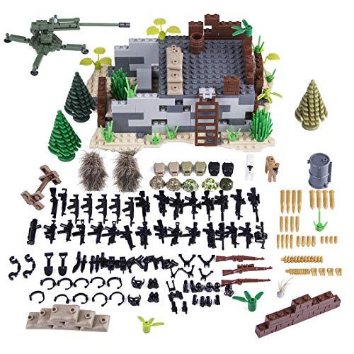 Tewerfitisme Tema militar DIY de piezas pequeñas de construcción Shooting Scene Toy Kit para 100% marcas de bloques de construcción, armas militares, juguete compatible con Lego