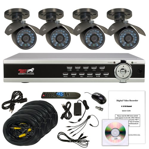 Mighty Mule LX-4PROPK35SC-TB 4 Channel DVR with 4 Hi-res 600TVL, IR Night Vision Bullet Cameras and 1TB Hard Drive. Smartphone viewing.