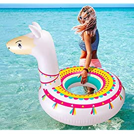 "Llama Pool Float Ride On Party Toys Alpaca Inflatable Swimming Ring Fiesta Water Supplies - for Adults or Kids 2 This llama ride-on float is a adorable addition to your pool party this summer. Made of premium polyvinyl chloride.Soft,durable and thick material. Measurement :41"" X 37"".Perfect for swimmers of all sizes and rated at 400 pounds."
