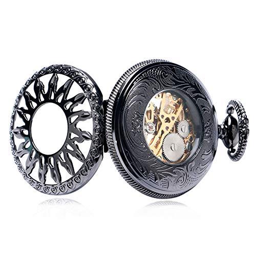 J.W. Sonnenblume Entwurf mechanische hängende Uhr Weinlese Taschenuhr mit Kette Hohlen Open Face Taschen Uhren für Damen Herren Studenten Geschenk,Schwarz